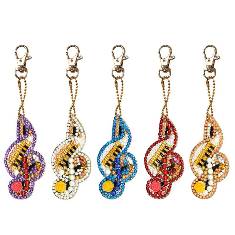 5pcs DIY Full Drill Diamond Painting Keychains Special-shaped Musical Notes Key Chains Diamond Embroidery Cross Stitch Keyring image