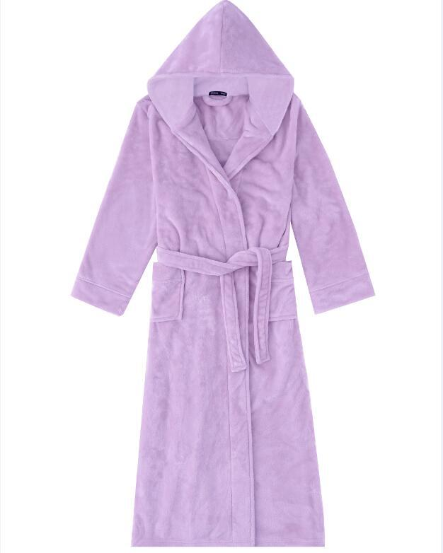 Purple Women Soft Home Wear Thick Coral Fleece Robe Gown Warm Nightgown Sleepwear Casual Flannel Nightwear Loose Kimono Bathrobe