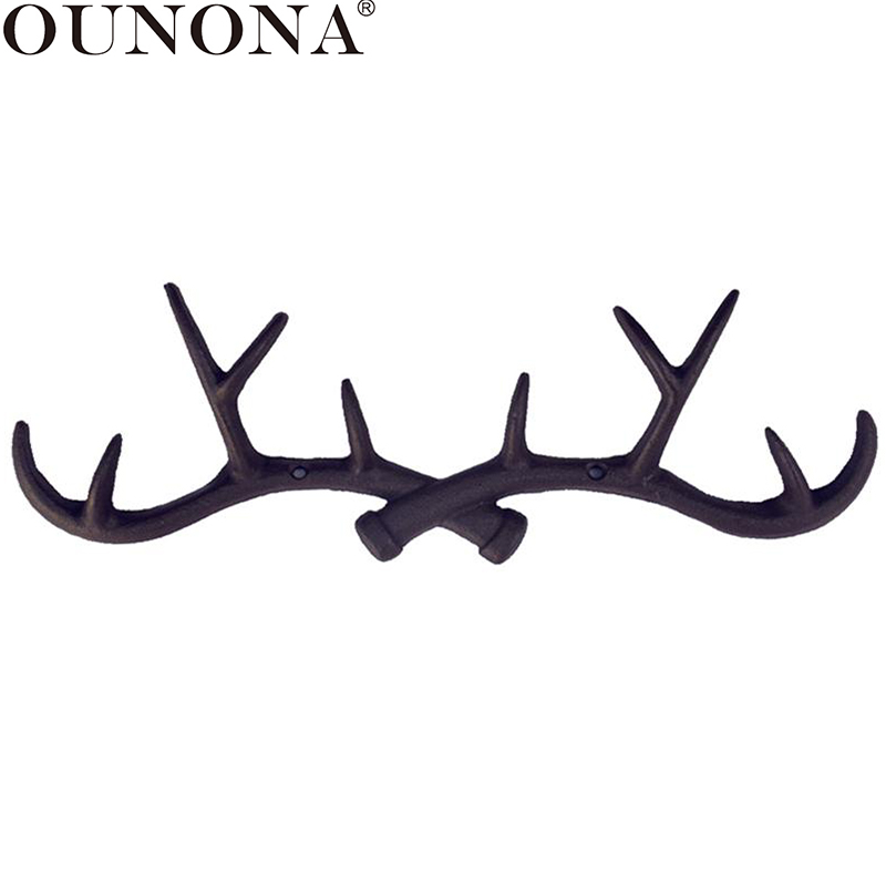 OUNONA Cast Iron Vintage Deer Antler Wall Hooks Home Decorative Hook Rack Wall-mounted Key Hanger Wall Hanger For Key Coat Towel