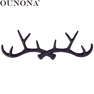 Image 1 - OUNONA Cast Iron Vintage Deer Antler Wall Hooks Home Decorative Hook Rack Wall mounted Key Hanger Wall Hanger for Key Coat Towel