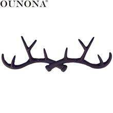 OUNONA ganchos de pared de asta de ciervo Vintage de hierro fundido, gancho decorativo para el hogar, colgador de llaves montado en la pared, colgador de pared para llaves, abrigo, toalla