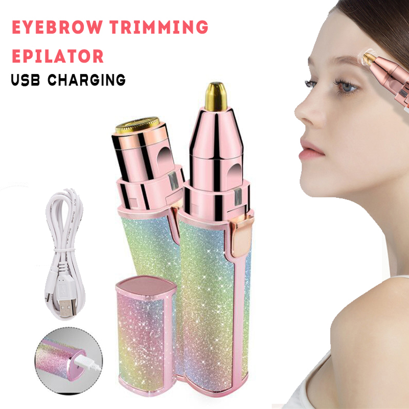 Fashion Eyebrown Epilator Penepil Delete Ear Nose Lip Body Hair Trimmer Mini Lipstick Electric Trimming Machine 2 In 1 Usb