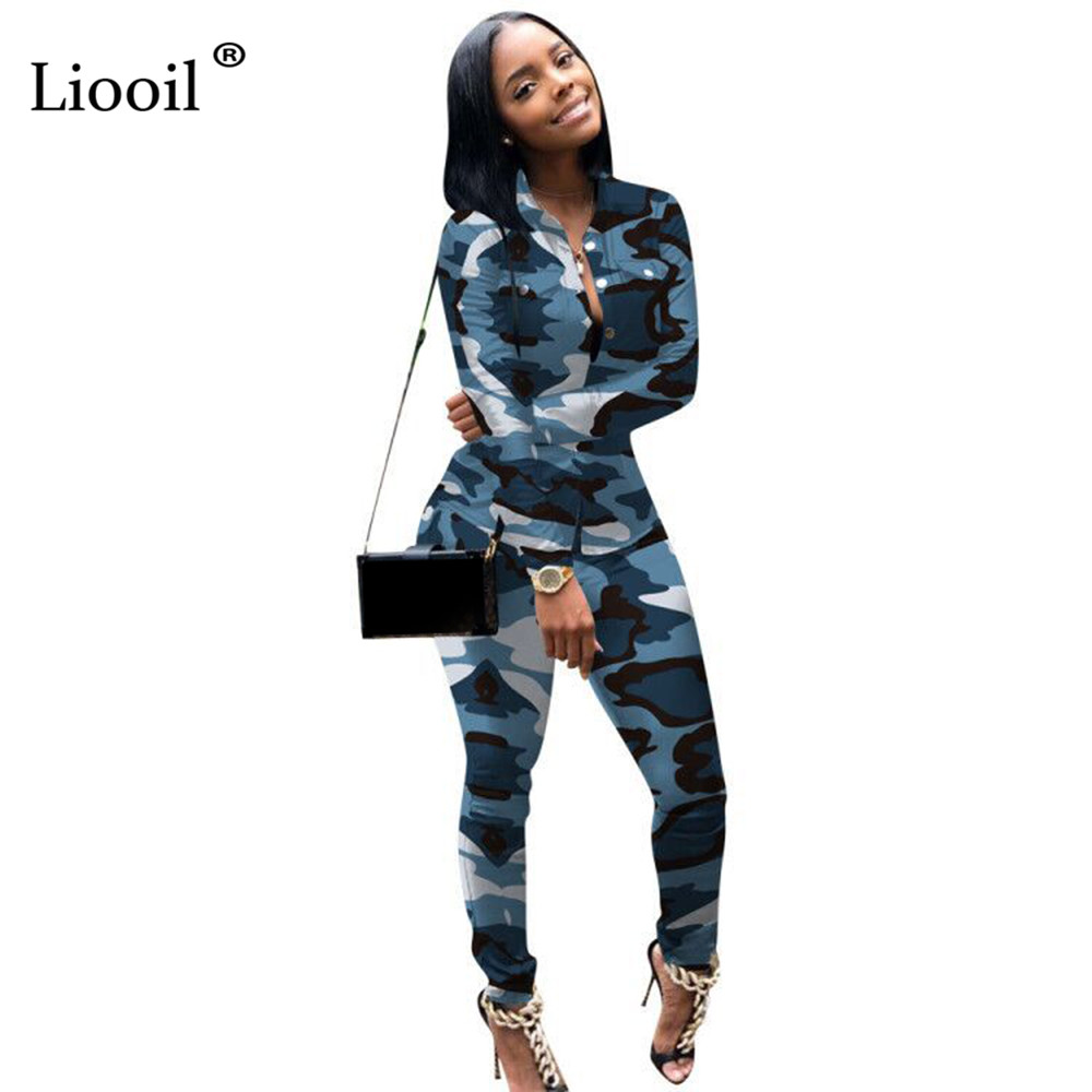 Liooil Plus Size Camouflage Two Piece Set Party Club Outfits Women Clothes Long Sleeve Button Up Sexy Tops And Pencil Pants Sets