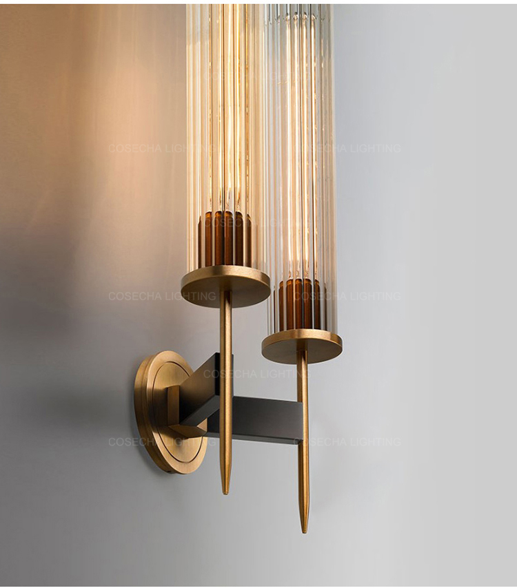 Hfca048df38d440fabce275590dcf50fai - Antique brass wall lamp glass cylinder shade home indoor decorative wall lights in bedroom bedside wall mounted sconce interior