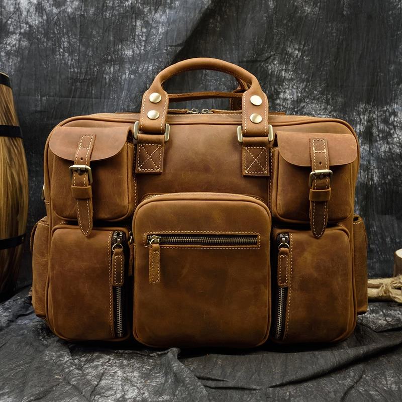 MAHEU Fashion Natural Leather Men Briefcases With Shoulder Strap Mans Laptop Notebook Hand Bag 2019 New Business Briefcase Bag