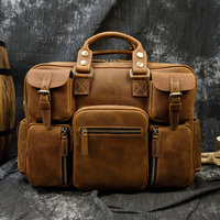 MAHEU Fashion Natural Leather Men Briefcases With Shoulder Strap Mans Laptop Notebook Hand Bag 2019 New Business Briefcase Bag