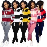 Plus Size S XXXL Two Piece Set Women's Tracksuits Autumn Winter Women Striped Hooded Sweatshirt and Pant Tracksuit Sport Suit