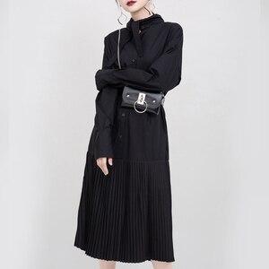 Image 5 - [EAM] kobiety czarny plisowany z rozcięciem wspólne charakterystyczna koszula sukienka nowa z klapami z długim rękawem luźny krój moda wiosna jesień 2020 1N038