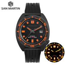 San Martin Diver Black Warrior 6105 Turtle Colorful Super Luminous NH35 Automatic Mechanical Men Watch 20Bar Sapphire Date