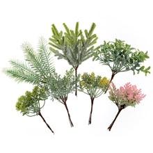 6 pçs folhas de flores artificiais buquê planta grama para o casamento decoração de casa diy scrapbook artesanato decoração natal flores falsas