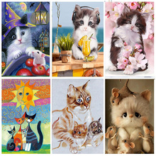 Full Drill 5D DIY Round Diamond Painting Animal Mosaic Embroidered Cute Cat Pattern Hobbies Crafts Home Decoration Gift