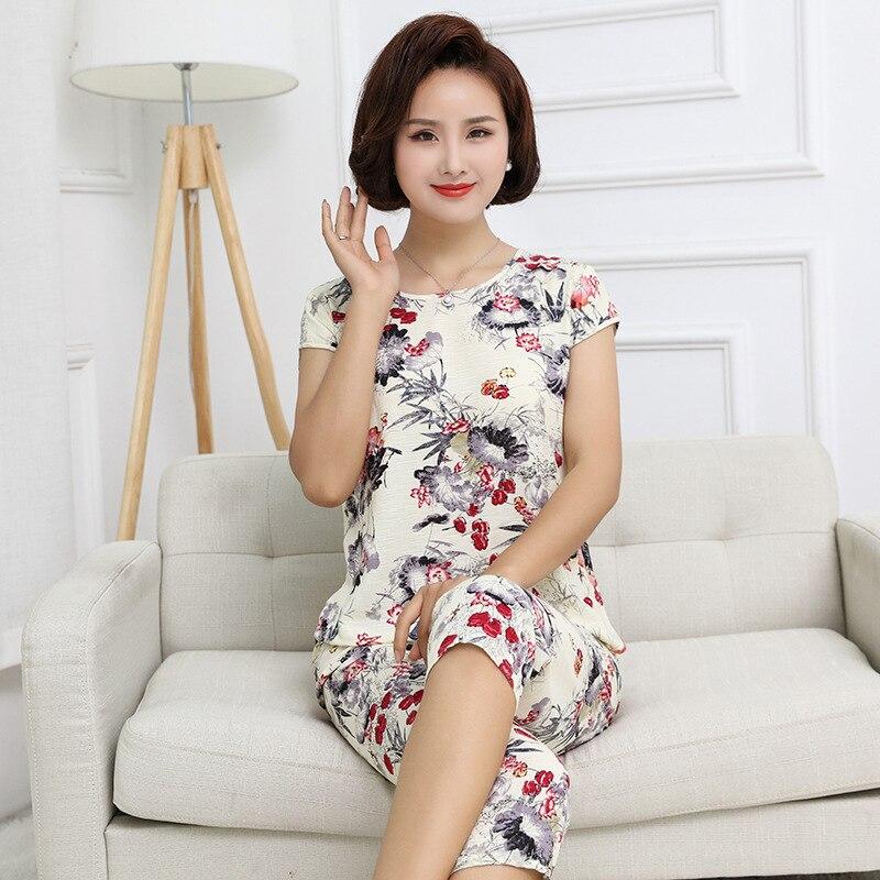 Summer Slub Cotton Linen Short Sleeve Capri Pants Two-Piece Set Tracksuit 2018 Korean-style New Products Mom Pajamas Women's