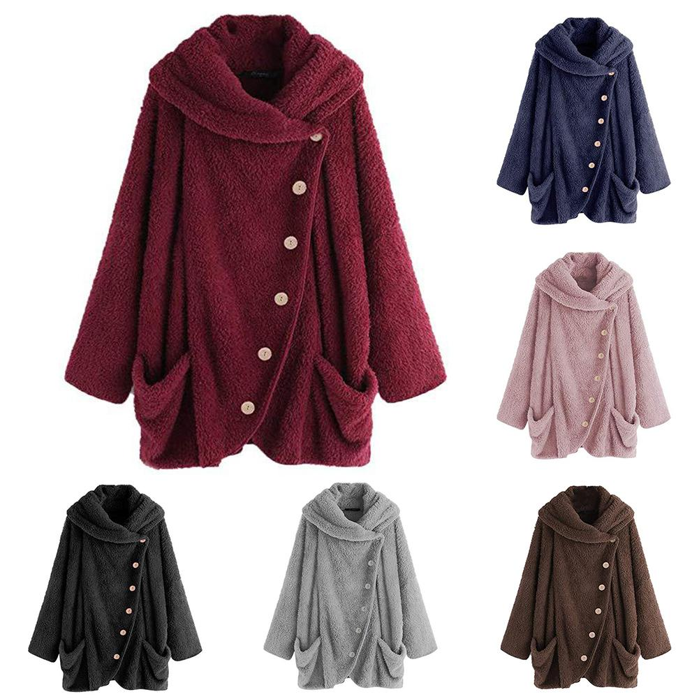 Fashion Women Winter Solid Color Single Breasted Pocketing Warm Plush Sweater Coat