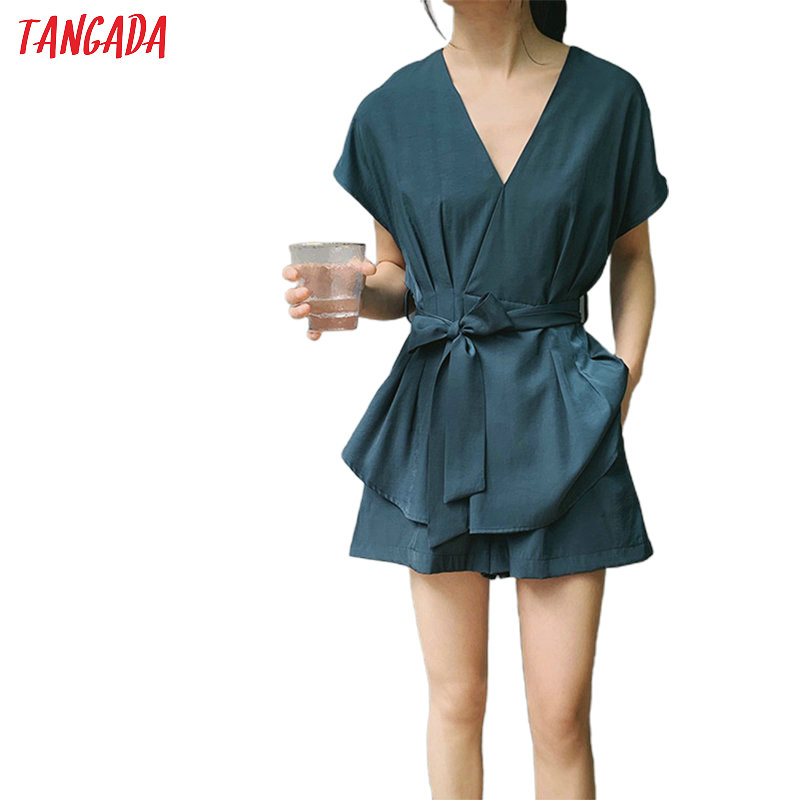 Tangada Solid Suit Women Shorts Set 2020 Fashion New Suit 2 Piece Set Sweet Top And Shorts High Quality ATC17