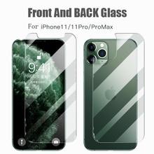 Para iPhone 11 vidrio templado película protectora de pantalla de cuerpo completo para iPhone 11Pro Max 2019 9D frontal + trasero + Lente de Cristal de la cámara