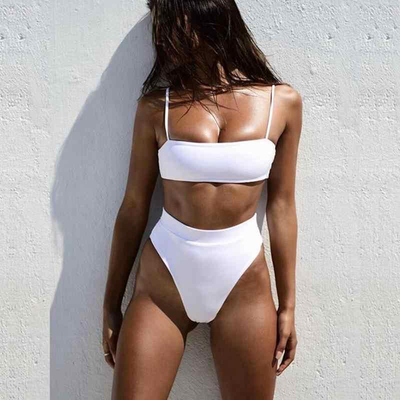 Lato seksowne Bikini Set kobiety strój kąpielowy jednolity kolor Bikini talia wysokie stroje kąpielowe wyściełane bez pleców paski biustonosz strój kąpielowy Biquini Fe Q7A4