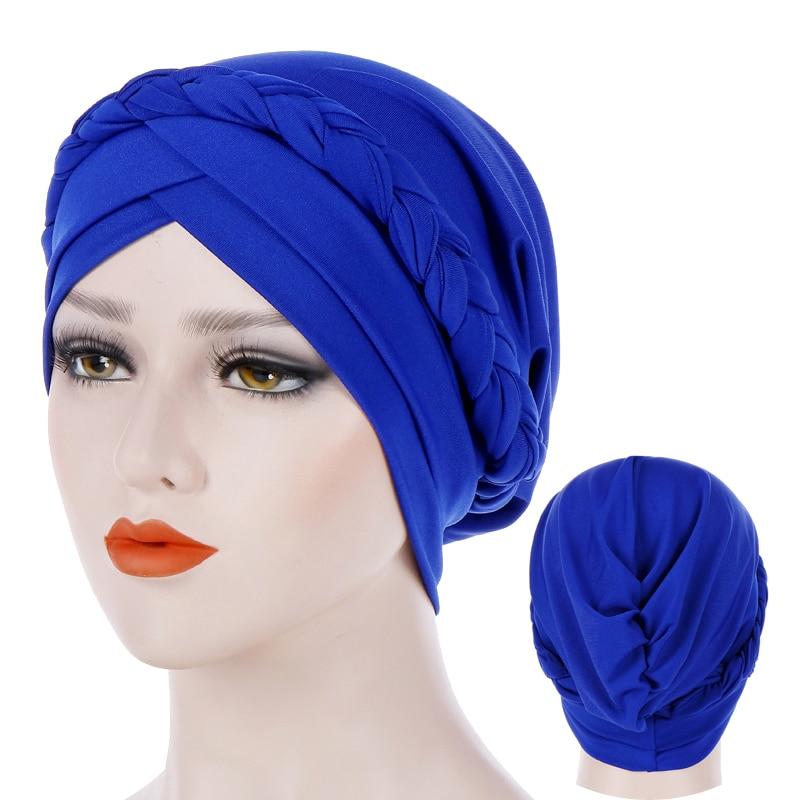 Forehead Cross Turban Bonnet For Women Pure Color Cotton Braid Inner Hijabs Indian Wrap Hijab Underscarf Caps Muslim Headdress