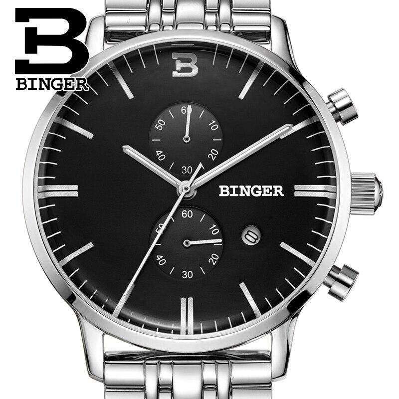 BINGER Mens Watches top Brand Luxury  Men Sports Military Wrist Watch Quartz Watch Waterproof Relogio Masculin  Stainless Steel