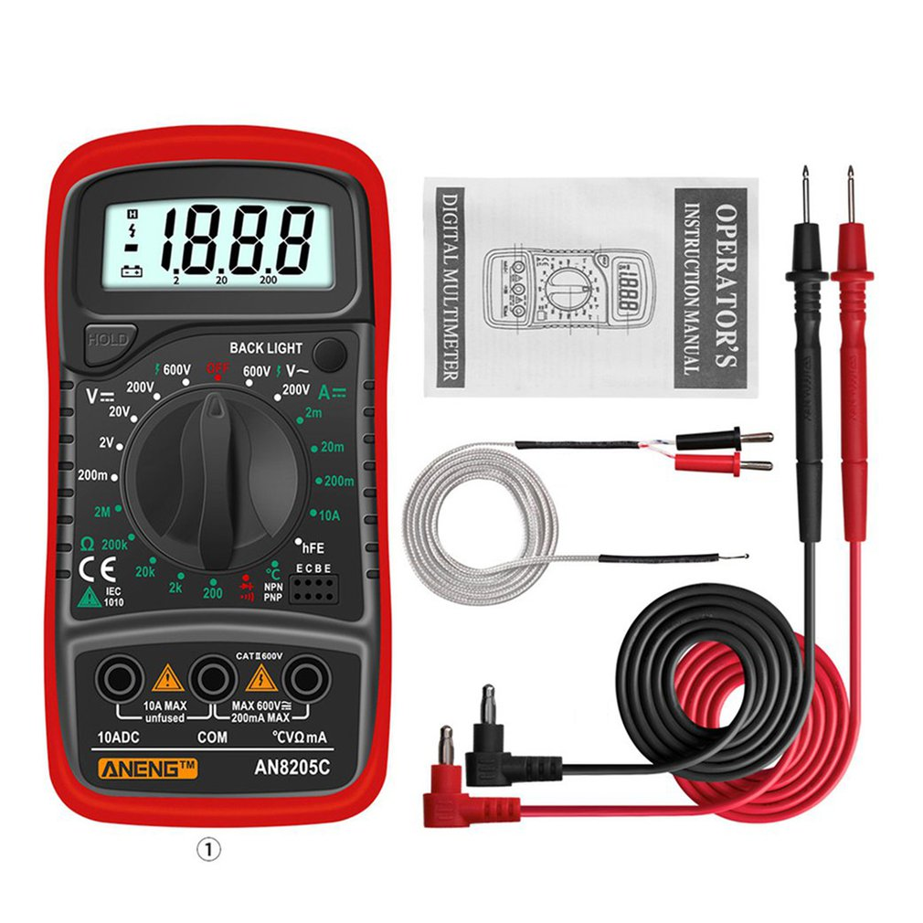 An8205c Multifunction Silicone Anti-fall Accurate And Durable Multimeter Backlight Data Retention Multimeter