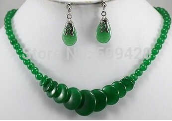Freies verschiffen >>>>> Charming! Grün Smaragd Halskette Ohrring 17''