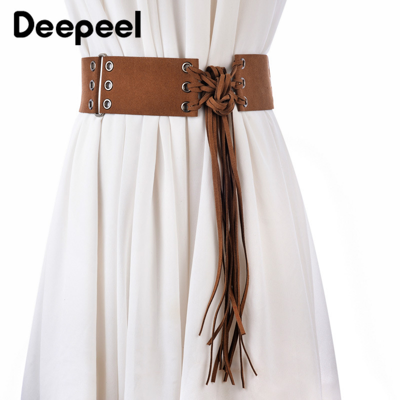 Deepeel 1pc 6*145cm Elegant Female Suede Wide Cummerbunds Adjustable Retro Tassel Metal Hole Splice Solid Girdle For Dress CB613