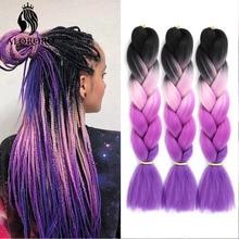 Hair-Braid Synthetic-Hair-Extension Black 24inch Alororo for 6/8pcs Jumbo Wholesale Purple