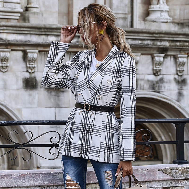 Slim-Fit Plaid Double-Breasted Small Suit Jacket Women's 2020 Autumn Women's Long-Sleeved Shirt oversized blazer