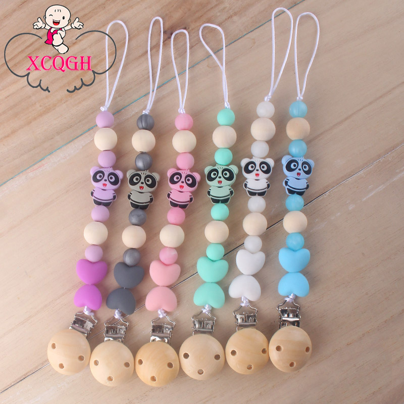 XCQGH New DIY Silicone Molar Beads Pacifier Chain Silicone Mini Panda Teether Wooden Clip Pacifier Chain Clip