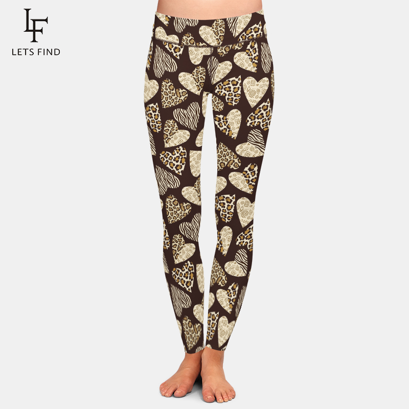 LETSFIND Sexy Leopard Heart Digital Print High Waist Slim Leggings Fashion Women Fitness Stretch Leggings Plus Size