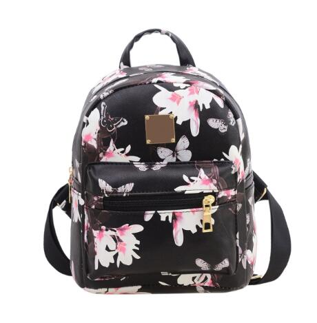 Made In China Ladies Floral Backpack Travel Leather Rucksack Shoulder School Bag