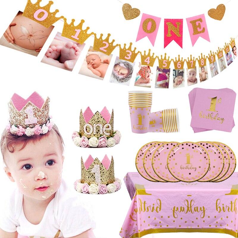 Crianças 1st festa de aniversário decoração 1 ano de idade coroa bebê menino menina 1 primeiro aniversário balão guirlanda chá de fraldas fontes de festa|Decorações de festas DIY|   -