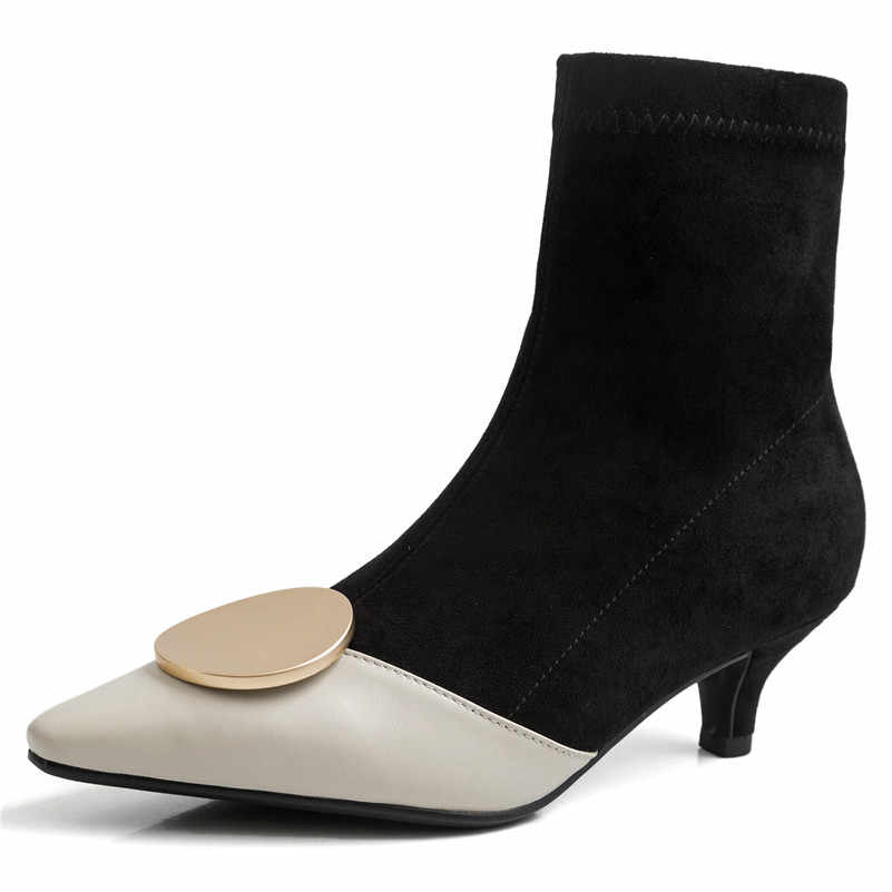 FEDONAS 2020 Herfst Winter Vrouwen Enkellaarsjes Echt Leer Elegante Chelsea Laarzen Kantoor Prom Schoenen Vrouw Kwaliteit Sokken Laarzen