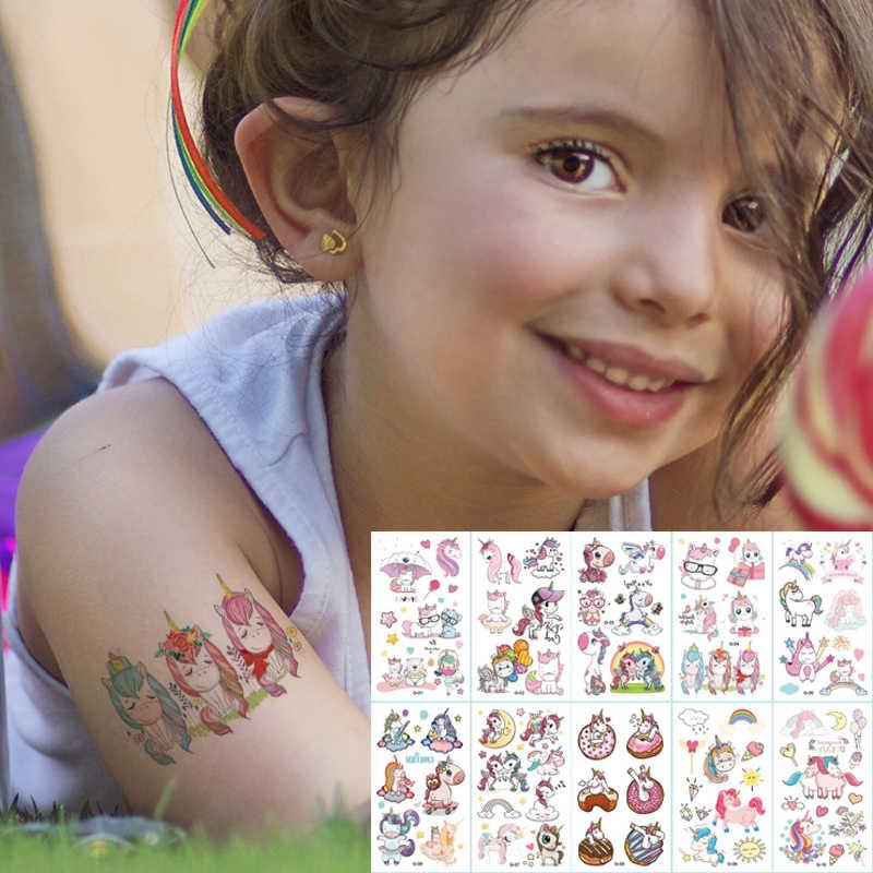 10 Stks/partij Kleur Eenhoorn Tattoo Set Gezicht Tijdelijke Tattoo Kind Tattoo Sticker Body Tatoo Voor Kids Leuke Tattoo Kinderen Tattoos