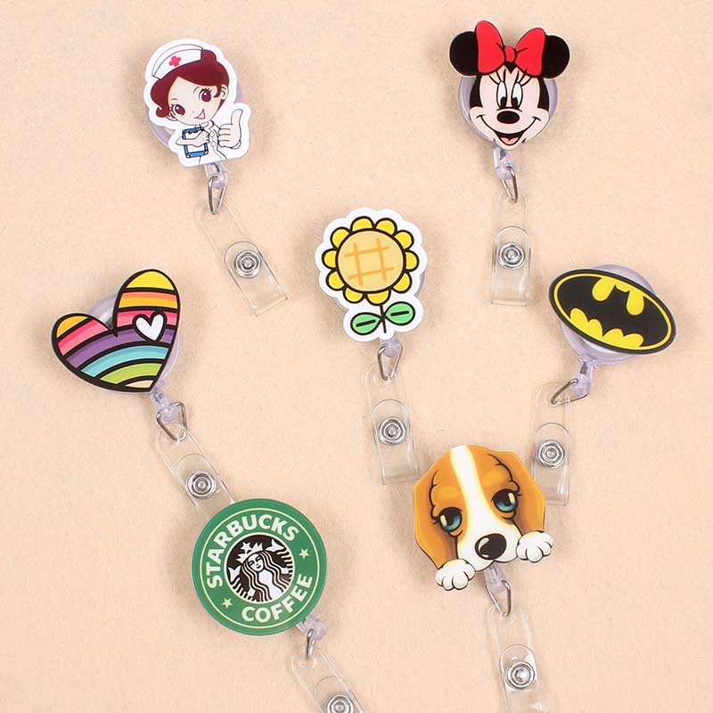 1 Pcs Cute Acrylic Newest Design Retractable Badge Reel Nurse Doctor Student Exhibition ID Card Clips Badge Holder Stationery