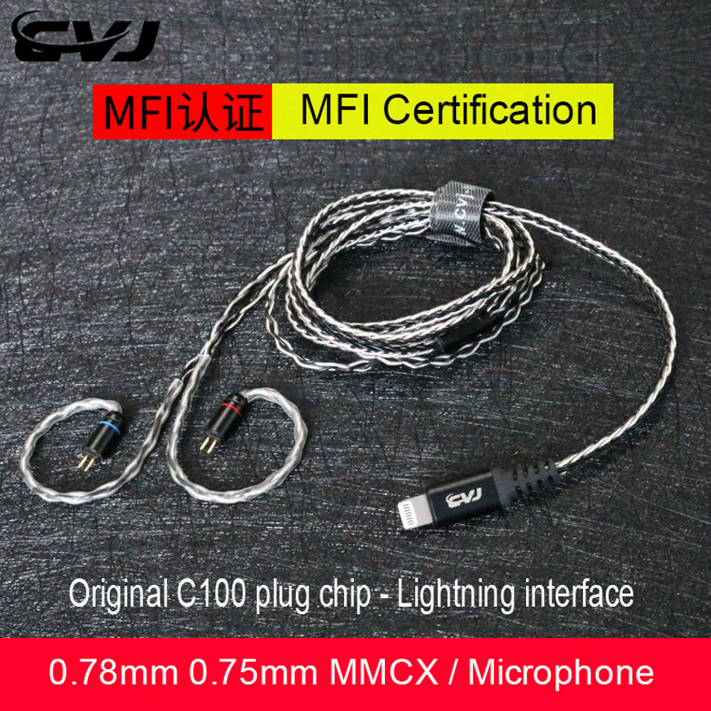 Original C100 chip Plug For Iphone Lightning Hifi Upgrade <font><b>Cable</b></font> <font><b>0.75MM</b></font> <font><b>2PIN</b></font> 0.78MM MMCX For se215 ue900 westone W4R ES3 ES5 V90 image