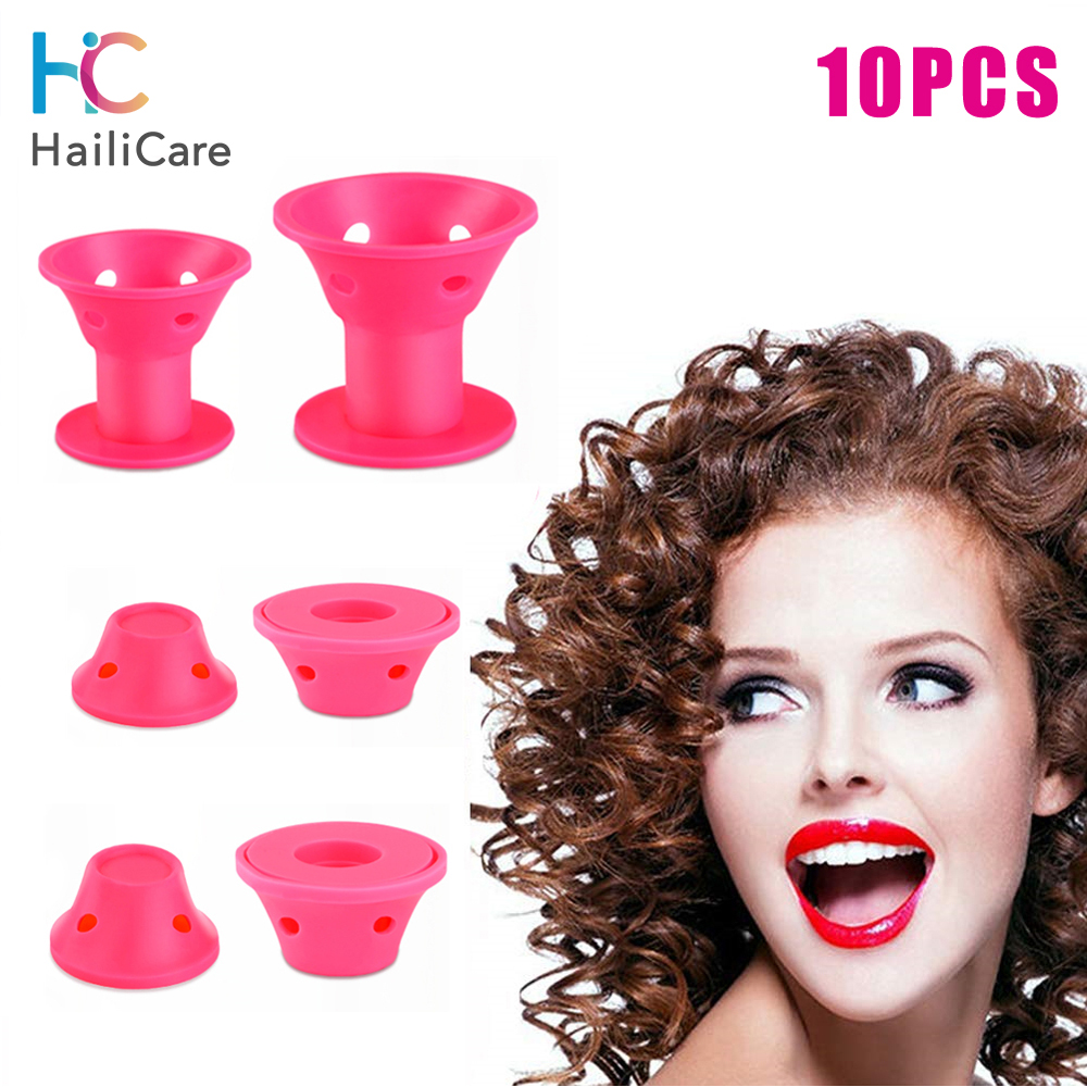 10pcs Magic Rollers Spiral Hair Curlers Soft Silicone Hair Curlers Sleeping Bell No Heat Curling Roller DIY Hair Care Styling