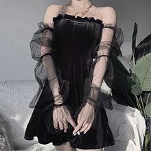 40 # feminino sexy ruffle vestidos estilo punk cinta puff manga profunda decote em v lingerie retalhos mini vestido vestidos longos de verao
