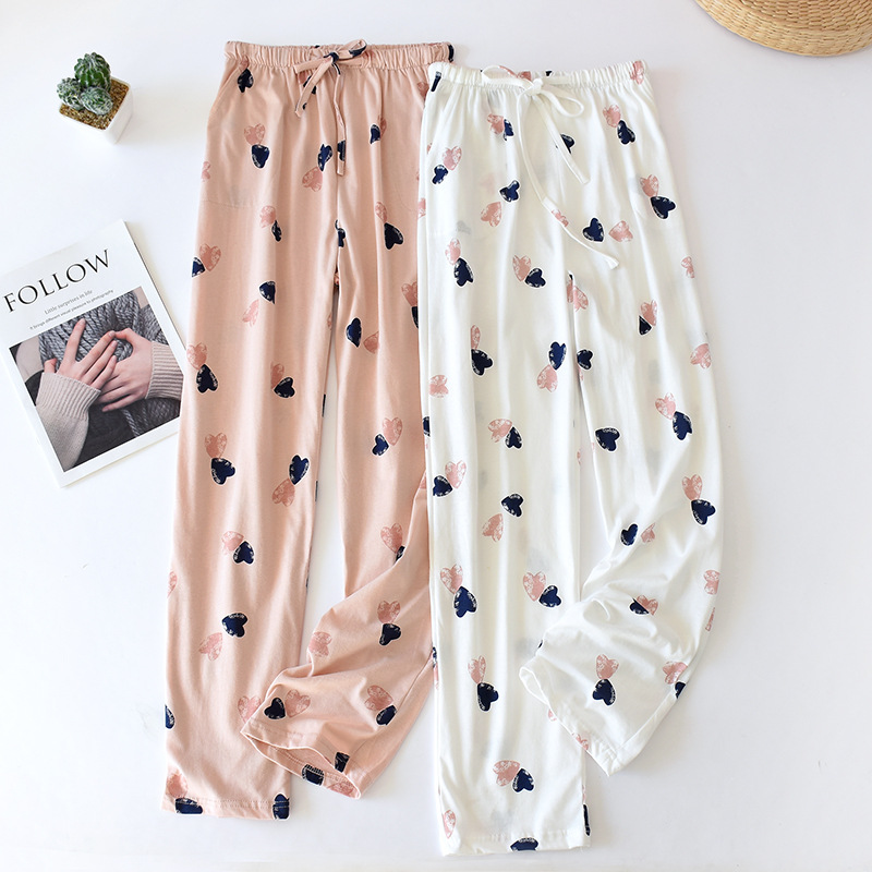 Cotton Sleep Bottoms Home Pants Japanese Trousers Women's Pajamas Spring and Autumn Knitted Loose Large Size Trousers