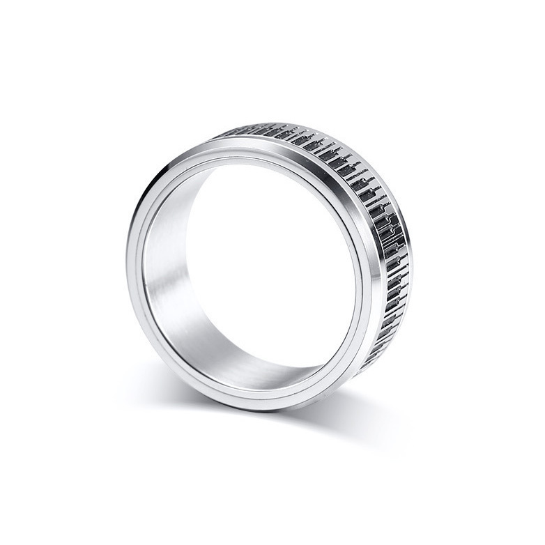 Piano Keyboard Shaped Stainless Steel Ring for Men