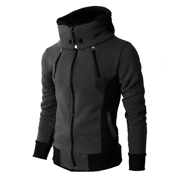 2021 Zipper Men Jackets Autumn Winter Casual Fleece Coats Bomber Jacket Scarf Collar Fashion Hooded Male Outwear Slim Fit Hoody 3