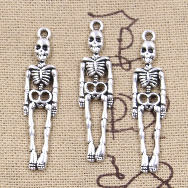 12pcs Charms Skull Skeleton Man 39x9mm Antique Silver Color Plated Pendants Making DIY Handmade Tibetan Finding Jewelry 1