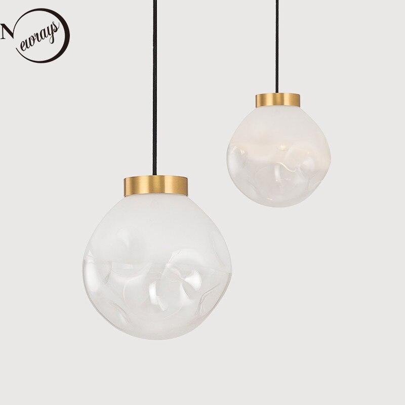 Modern Brass Glass Pendant Lamp LED E27 Nordic Simplicity Pendant Lights For Restaurant Living Room Bedroom Bedside Hanging Lamp