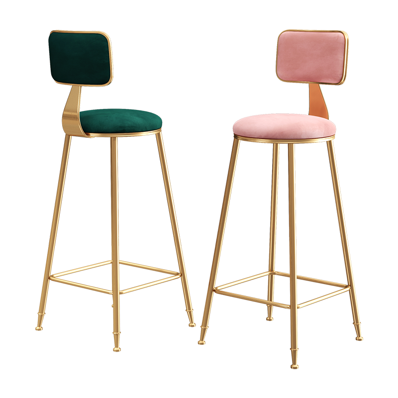 Scandinavian Luxury Ins Bar Chair,   Simple Fashion   Back Stand, High  Golden Internet Red  Bench