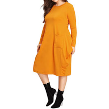 Dropshipping Dress Fashion Womens Large Size Long Sleeve Pockets Party Dresses Casual Solid O-neck Spring Soft