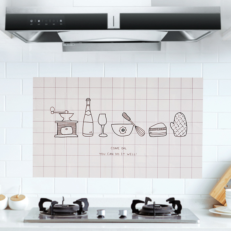 Kitchen Bathroom Self adhesive Wall paper Anti oil Wrap Wall Sticker Waterproof Foil Stickers Home Decor 1 pcs in Wall Stickers from Home Garden