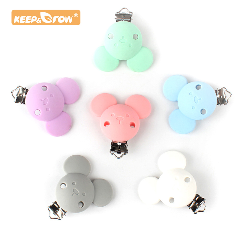 Keep&Grow 1pc Micky Pacifier Clips Safe Teething Metal Silicone Rodent Accessories DIY Baby Teething Necklace Pendant Clamp