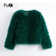 Pudi, новинка, Женское пальто из натурального меха страуса карамельного цвета, Женское пальто из турецкого меха,, повседневная короткая куртка-парка CT902