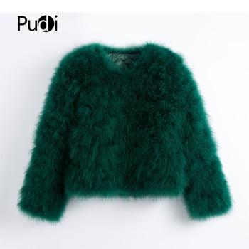Pudi 2019 nouveau femmes couleur bonbon autruche réel manteau de fourrure dame dinde cheveux livraison décontracté veste courte parka CT902