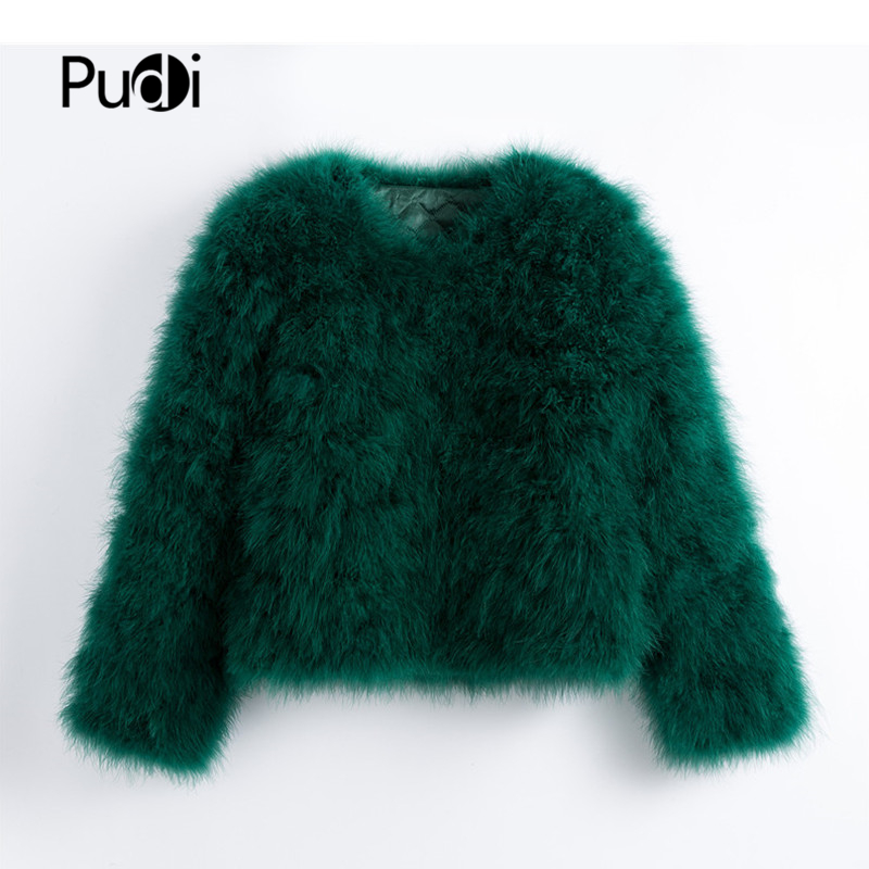 Pudi 2019 New Women Candy Color Ostrich Real  Fur Coat Lady Turkey Hair Free Shipping Casual Short Jacket Parka CT902