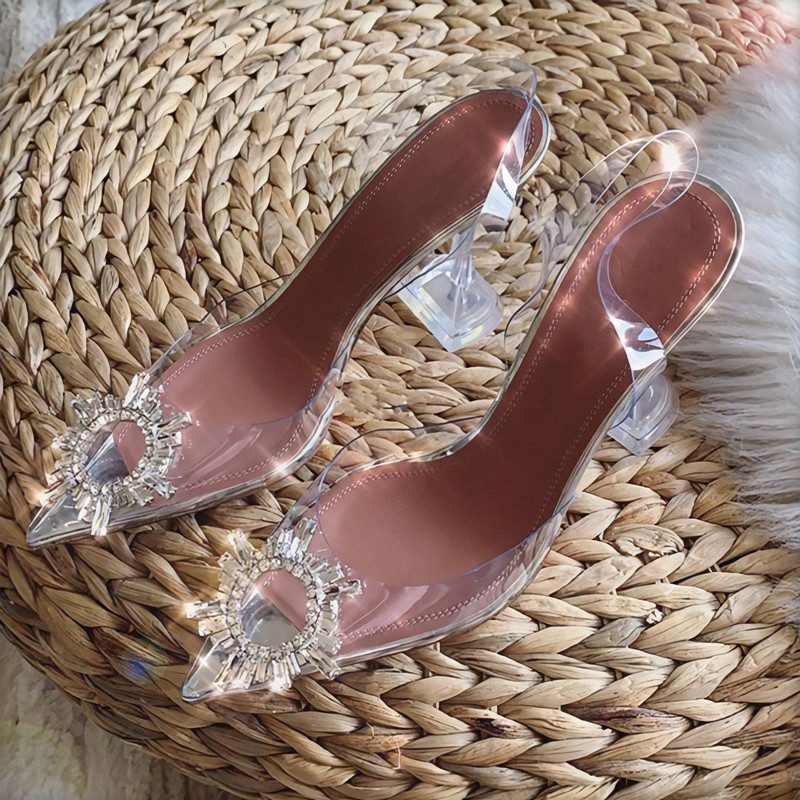 Transparent PVC Sandals Women Pointed Clear Crystal Cup High Heel Stilettos Sexy Pumps Summer Shoes Peep Toe Women Pumps Size 43 4